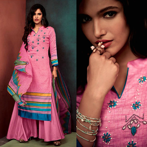 PINK PRINTED SATIN COTTON UNSTITCHED SALWAR KAMEEZ SUIT DRESS MATERIAL w KATLI BEADS WORK LADIES DEN