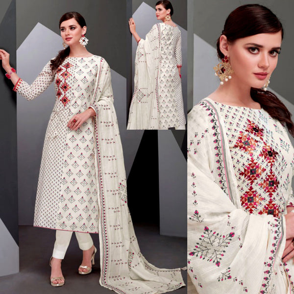 OFF WHITE-HOT PINK DESIGNER PRINTED SATIN COTTON UP TO READY SIZE 64 UNSTITCHED SALWAR KAMEEZ SUIT DRESS MATERIAL w EMBR LADIES DEN