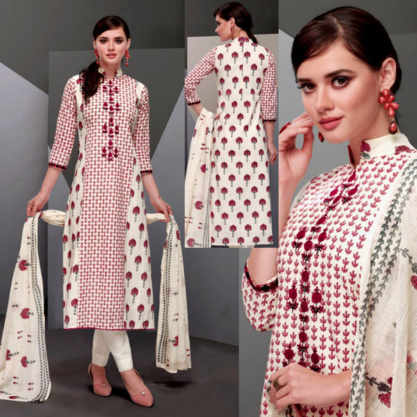 OFF WHITE-DARK PINK DESIGNER PRINTED SATIN COTTON UP TO READY SIZE 64 UNSTITCHED SALWAR KAMEEZ SUIT DRESS MATERIAL w EMBR LADIES DEN