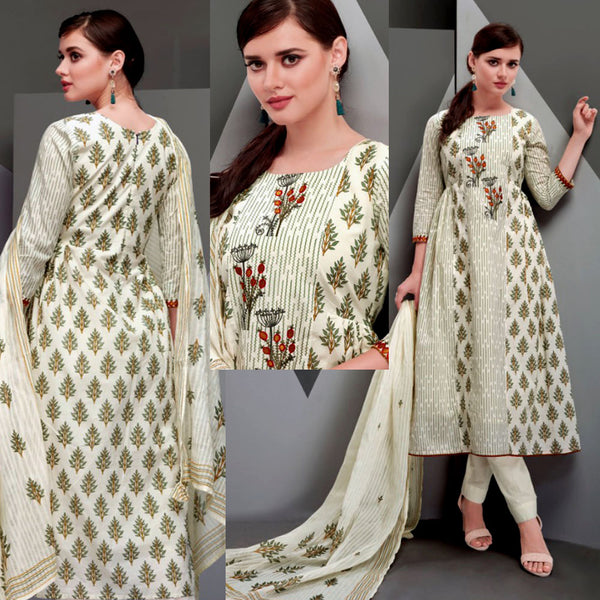 CREAM-GREEN DESIGNER PRINTED SATIN COTTON UP TO READY SIZE 64 UNSTITCHED SALWAR KAMEEZ SUIT DRESS MATERIAL w EMBR LADIES DEN - Ladies Den