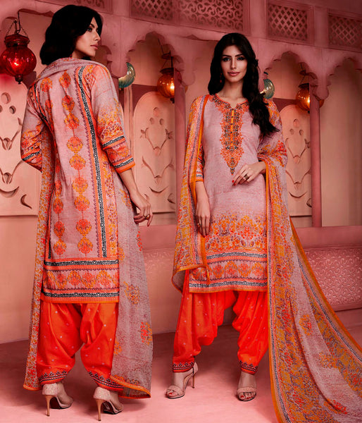 PALE ALMOND-DARK ORANGE PRINTED SATIN COTTON UNSTITCHED SALWAR KAMEEZ SUIT DRESS MATERIAL w EMBR LADIES DEN - Ladies Den