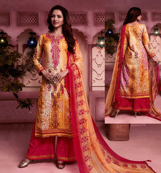 YELLOW-CHERRY RED PRINTED SATIN COTTON UNSTITCHED SALWAR KAMEEZ SUIT DRESS MATERIAL w EMBR LADIES DEN