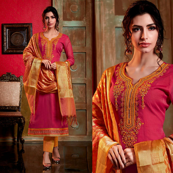 DEEP PINK-SAFFRON YELLOW CHANDERI SILK BANARASI DUPATTA UNSTITCHED SALWAR KAMEEZ SUIT DRESS MATERIAL KUNDAN & BEADS WORK LADIES DEN - Ladies Den