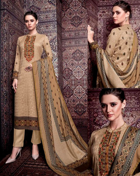DARK BEIGE KASHMIRI STYLE PRINTED PASHMINA WOOL UNSTITCHED SALWAR KAMEEZ SHAWL SUIT w EMBR DRESS MATERIAL LADIES DEN