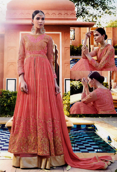 SALMON GEORGETTE UNSTITCHED HEAVY DESIGNER GOWN ANARKALI SALWAR KAMEEZ LENGHA SUIT DRESS MATERIAL LADIES DEN - Ladies Den