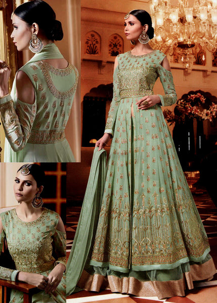LIGHT PISTACHIO GREEN GEORGETTE UNSTITCHED HEAVY DESIGNER GOWN ANARKALI SALWAR KAMEEZ LENGHA SUIT DRESS MATERIAL LADIES DEN - Ladies Den