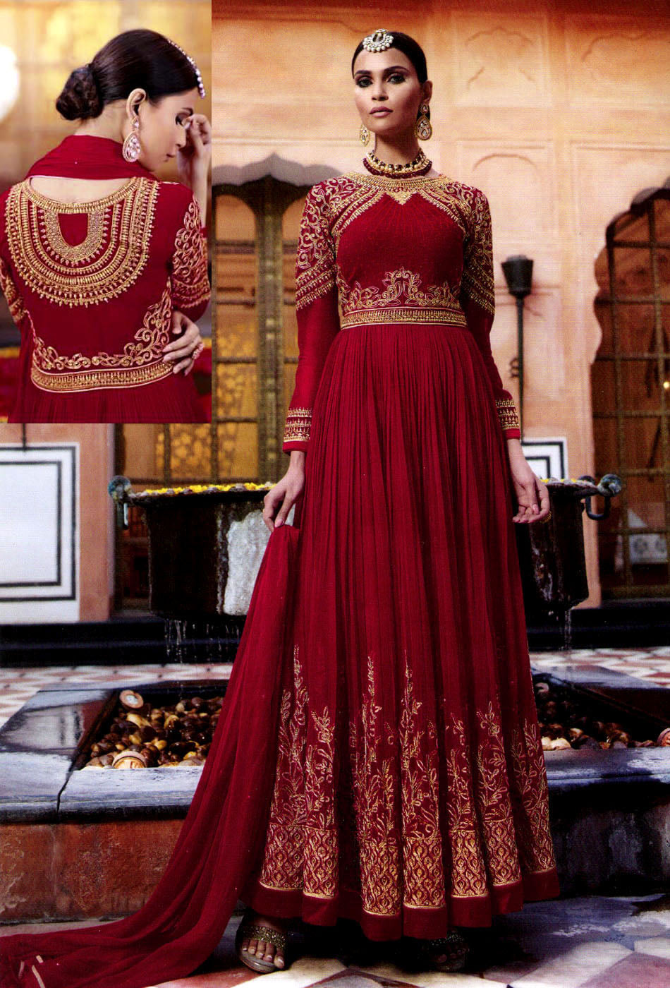 MAROON RED GEORGETTE UNSTITCHED HEAVY DESIGNER GOWN ANARKALI SALWAR KAMEEZ SUIT DRESS MATERIAL LADIES DEN - Ladies Den