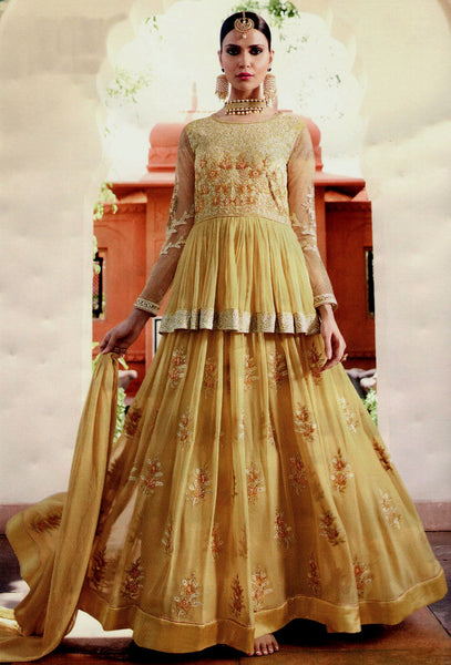 GOLDEN YELLOW GEORGETTE UNSTITCHED HEAVY DESIGNER GOWN ANARKALI SALWAR KAMEEZ SUIT DRESS MATERIAL LADIES DEN - Ladies Den
