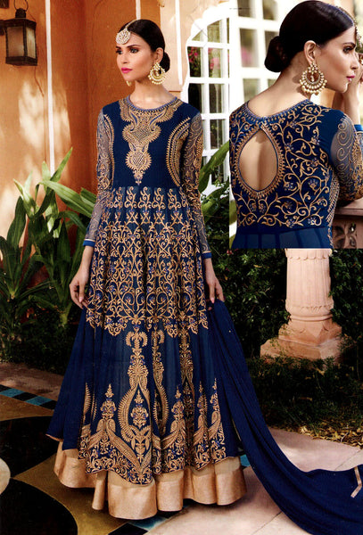 DARK NAVY BLUE GEORGETTE UNSTITCHED HEAVY DESIGNER ANARKALI SALWAR KAMEEZ SUIT DRESS MATERIAL LADIES DEN - Ladies Den
