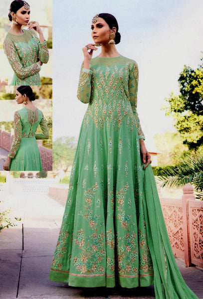 LIGHT MINT GREEN GEORGETTE UNSTITCHED HEAVY DESIGNER ANARKALI SALWAR KAMEEZ SUIT DRESS MATERIAL LADIES DEN