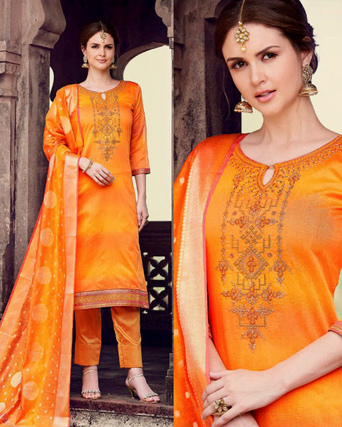 SAFFRON YELLOW CHANDERI SILK BANARASI DUPATTA UNSTITCHED SALWAR KAMEEZ SUIT DRESS MATERIAL ZARDOZI, KUNDAN & BEADS WORK LADIES DEN - Ladies Den