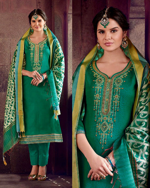 TEAL GREEN CHANDERI SILK BANARASI DUPATTA UNSTITCHED SALWAR KAMEEZ SUIT DRESS MATERIAL ZARDOZI & BEADS WORK LADIES DEN