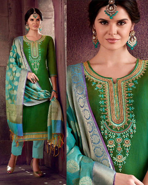 DARK GREEN-PALE TURQUOISE CHANDERI SILK BANARASI DUPATTA UNSTITCHED SALWAR KAMEEZ SUIT DRESS MATERIAL ZARDOZI & BEADS WORK LADIES DEN - Ladies Den