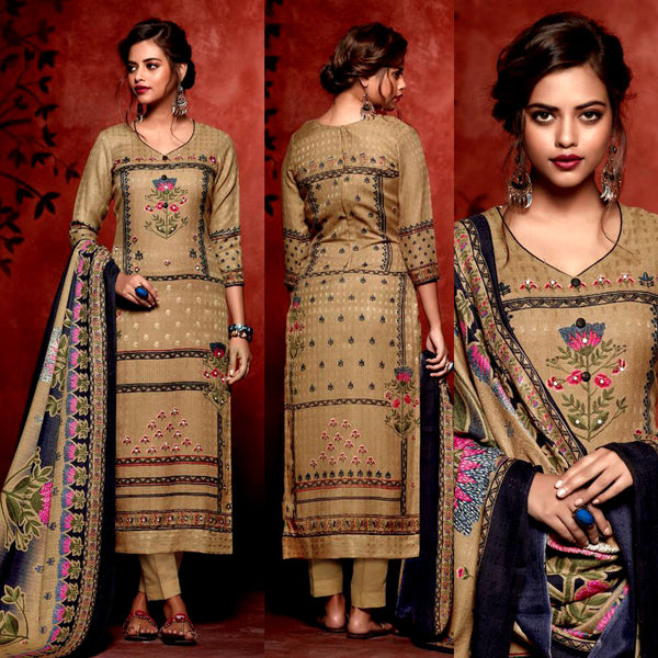 DARK KHAKI BROWN PRINTED SATIN COTTON UNSTITCHED SALWAR KAMEEZ SUIT DRESS MATERIAL w MIRROR WORK LADIES DEN - Ladies Den