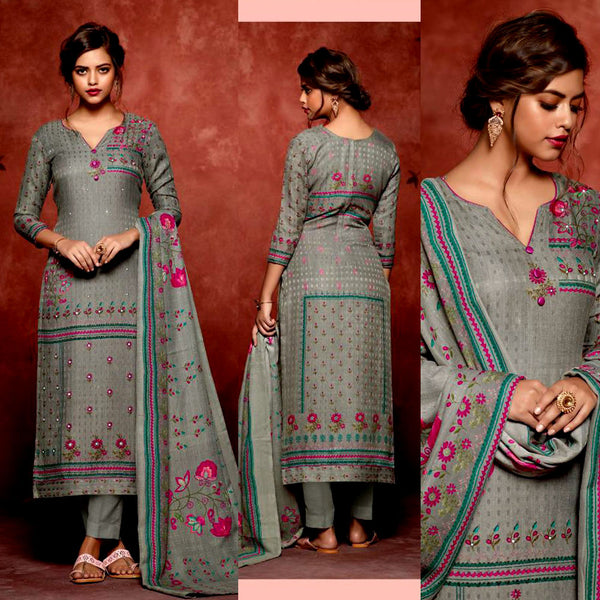 GRAY PRINTED SATIN COTTON UNSTITCHED SALWAR KAMEEZ SUIT DRESS MATERIAL w MIRROR WORK LADIES DEN - Ladies Den