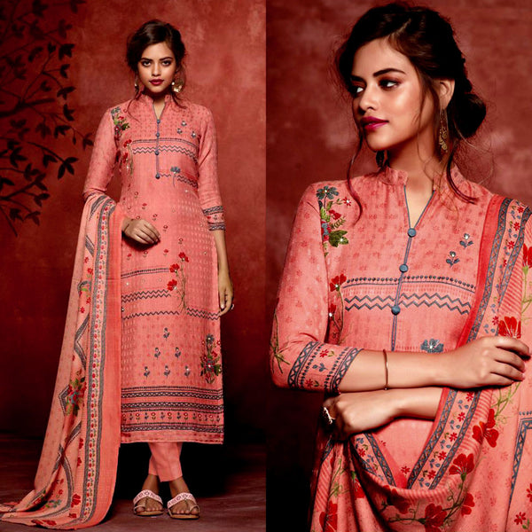 DEEP PEACH PRINTED SATIN COTTON UNSTITCHED SALWAR KAMEEZ SUIT DRESS MATERIAL w MIRROR WORK LADIES DEN - Ladies Den