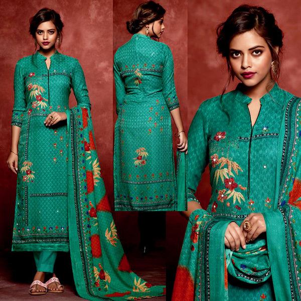 DARK TURQUOISE PRINTED SATIN COTTON UNSTITCHED SALWAR KAMEEZ SUIT DRESS MATERIAL w MIRROR WORK LADIES DEN - Ladies Den