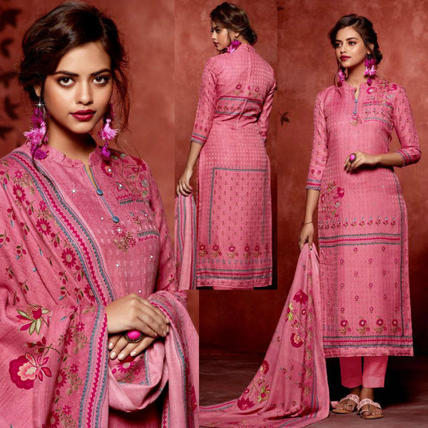PINK PRINTED SATIN COTTON UNSTITCHED SALWAR KAMEEZ SUIT DRESS MATERIAL w MIRROR WORK LADIES DEN