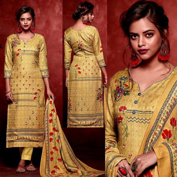 YELLOW PRINTED SATIN COTTON UNSTITCHED SALWAR KAMEEZ SUIT DRESS MATERIAL w MIRROR WORK LADIES DEN