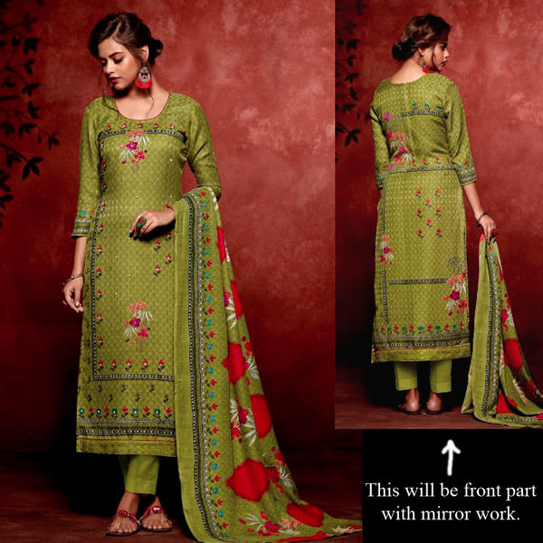 OLIVE GREEN PRINTED SATIN COTTON UNSTITCHED SALWAR KAMEEZ SUIT DRESS MATERIAL w MIRROR WORK LADIES DEN