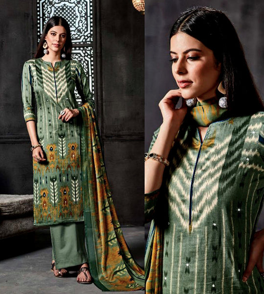 GRAYISH GREEN IKAT STYLE PRINTED SATIN COTTON UNSTITCHED SALWAR KAMEEZ SUIT DRESS MATERIAL w MIRROR WORK LADIES DEN - Ladies Den