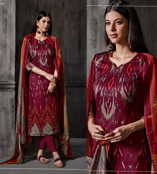 WINE IKAT STYLE PRINTED SATIN COTTON UNSTITCHED SALWAR KAMEEZ SUIT DRESS MATERIAL w MIRROR WORK LADIES DEN