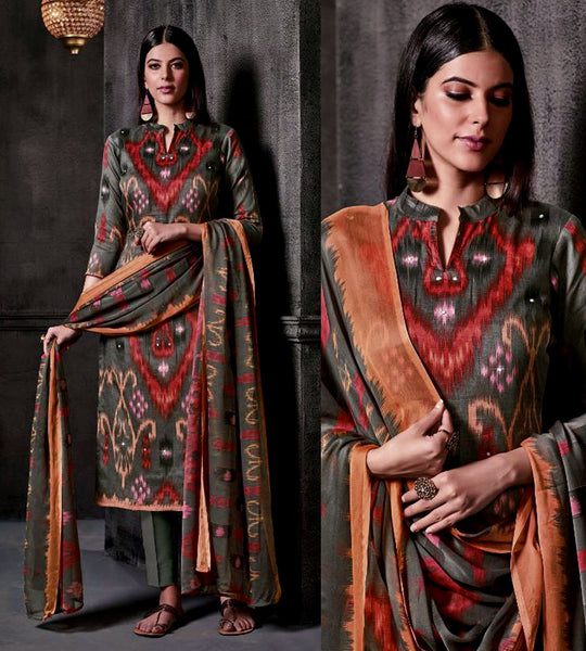MOUSE GRAY IKAT STYLE PRINTED SATIN COTTON UNSTITCHED SALWAR KAMEEZ SUIT DRESS MATERIAL w MIRROR WORK LADIES DEN