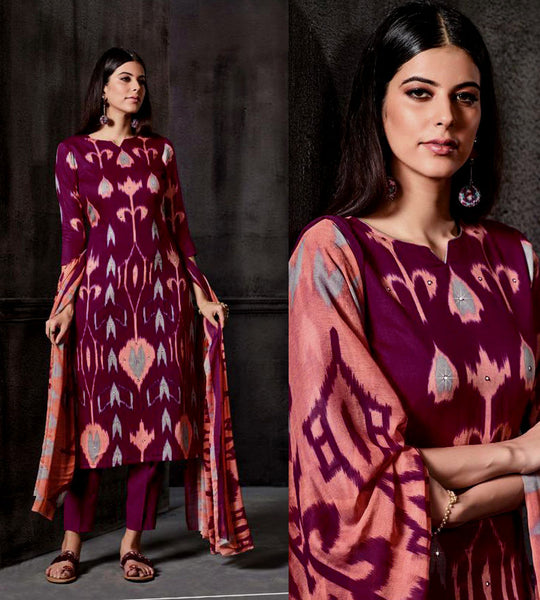PURPLE IKAT STYLE PRINTED SATIN COTTON UNSTITCHED SALWAR KAMEEZ SUIT DRESS MATERIAL w MIRROR WORK LADIES DEN