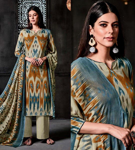 PALE CARDAMOM GREEN IKAT STYLE PRINTED SATIN COTTON UNSTITCHED SALWAR KAMEEZ SUIT DRESS MATERIAL w MIRROR WORK LADIES DEN