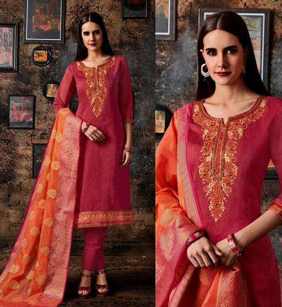 CARROT PINK CHANDERI SILK BANARASI DUPATTA UNSTITCHED SALWAR KAMEEZ SUIT DRESS MATERIAL BEADS WORK LADIES DEN - Ladies Den