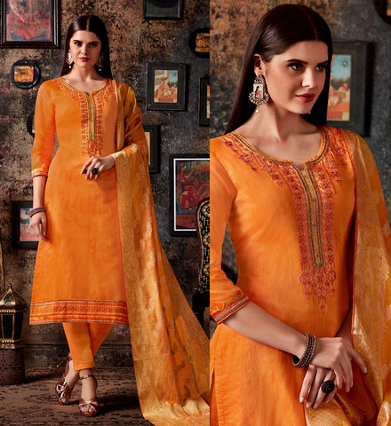 SAFFRON YELLOW CHANDERI SILK BANARASI DUPATTA UNSTITCHED SALWAR KAMEEZ SUIT DRESS MATERIAL BEADS WORK LADIES DEN - Ladies Den