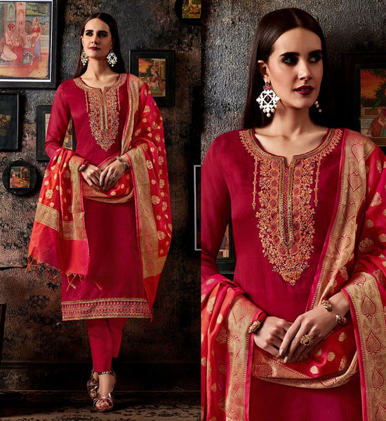 RUBY RED CHANDERI SILK BANARASI DUPATTA UNSTITCHED SALWAR KAMEEZ SUIT DRESS MATERIAL BEADS WORK LADIES DEN