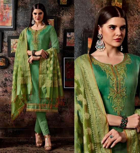 SEA GREEN CHANDERI SILK BANARASI DUPATTA UNSTITCHED SALWAR KAMEEZ SUIT DRESS MATERIAL BEADS WORK LADIES DEN - Ladies Den