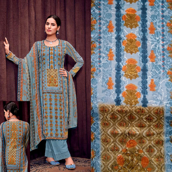 STEEL BLUE GRAY PAKISTANI STYLE PRINTED SATIN COTTON UNSTITCHED SALWAR KAMEEZ SUIT DRESS MATERIAL w AARI WORK LADIES DEN