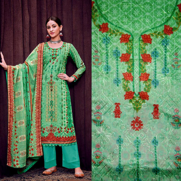 PASTEL GREEN PAKISTANI STYLE PRINTED SATIN COTTON UNSTITCHED SALWAR KAMEEZ SUIT DRESS MATERIAL w AARI WORK LADIES DEN - Ladies Den
