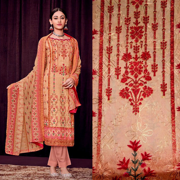 BEIGE-SALMON PAKISTANI STYLE PRINTED SATIN COTTON UNSTITCHED SALWAR KAMEEZ SUIT DRESS MATERIAL w AARI WORK LADIES DEN - Ladies Den