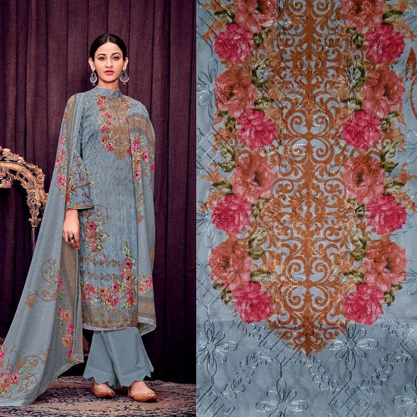 SLATE GRAY PAKISTANI STYLE PRINTED SATIN COTTON UNSTITCHED SALWAR KAMEEZ SUIT DRESS MATERIAL w AARI WORK LADIES DEN