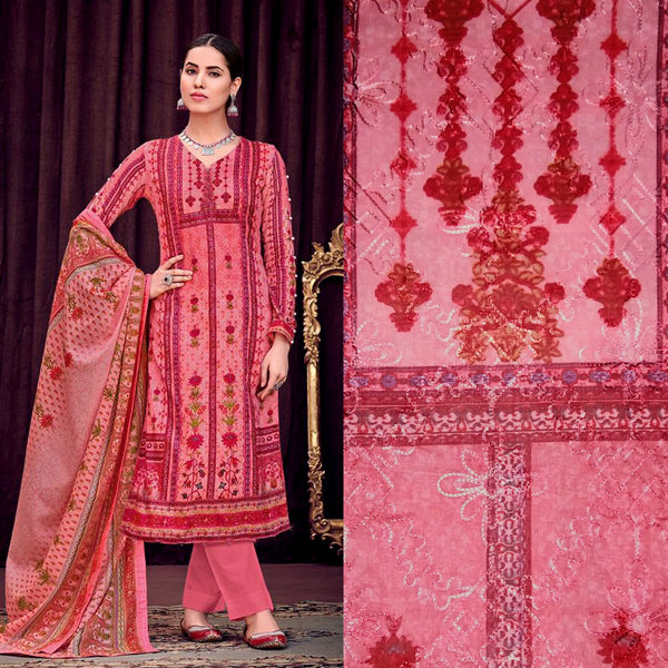 LT CARROT PINK PAKISTANI STYLE PRINTED SATIN COTTON UNSTITCHED SALWAR KAMEEZ SUIT DRESS MATERIAL w AARI WORK LADIES DEN - Ladies Den