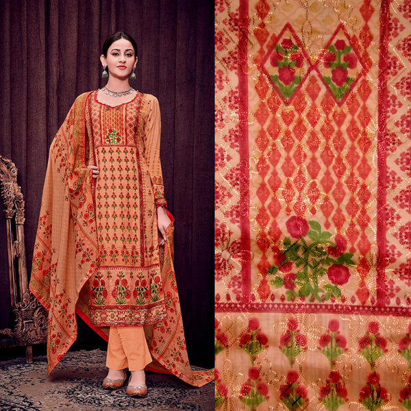 LIGHT ORANGE PAKISTANI STYLE PRINTED SATIN COTTON UNSTITCHED SALWAR KAMEEZ SUIT DRESS MATERIAL w AARI WORK LADIES DEN