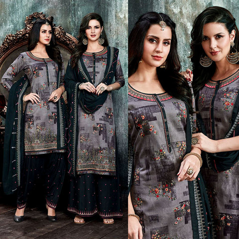 DARK GRAY-BLACK PRINTED SATIN COTTON UNSTITCHED PATIALA SALWAR KAMEEZ SUIT DRESS MATERIAL UP TO READY SIZE 60 w EMBR LADIES DEN - Ladies Den
