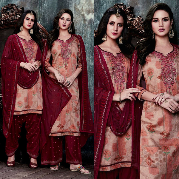 PASTEL BROWN-MAROON PRINTED SATIN COTTON UNSTITCHED PATIALA SALWAR KAMEEZ SUIT DRESS MATERIAL UP TO READY SIZE 60 w EMBR LADIES DEN - Ladies Den