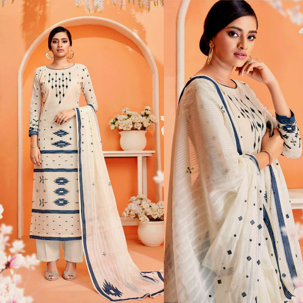 OFF WHITE-DARK BLUE DESIGNER PRINTED COTTON UP TO READY SIZE 64 UNSTITCHED SALWAR KAMEEZ SUIT DRESS MATERIAL w EMBR LADIES DEN