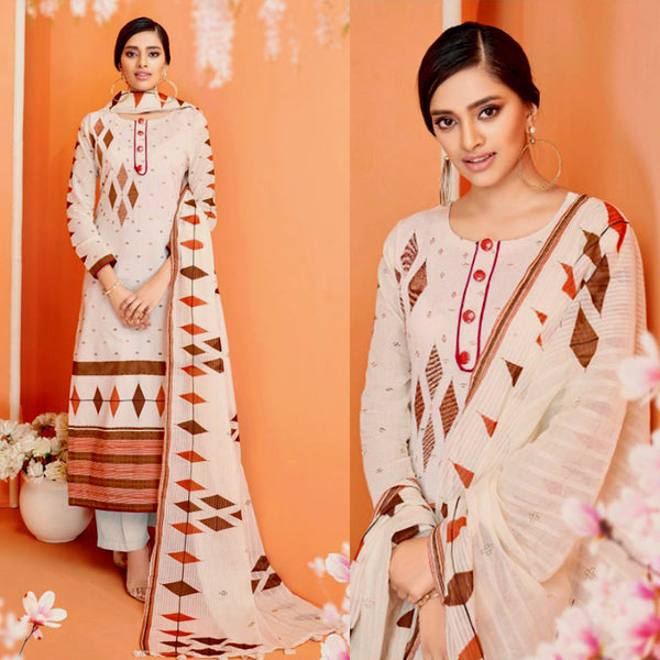 PALE BEIGE-RUST BROWN DESIGNER PRINTED COTTON UP TO READY SIZE 64 UNSTITCHED SALWAR KAMEEZ SUIT DRESS MATERIAL w EMBR LADIES DEN