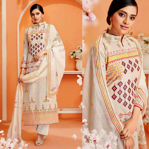CREAM-SALMON PINK DESIGNER PRINTED COTTON UP TO READY SIZE 64 UNSTITCHED SALWAR KAMEEZ SUIT DRESS MATERIAL w EMBR LADIES DEN - Ladies Den