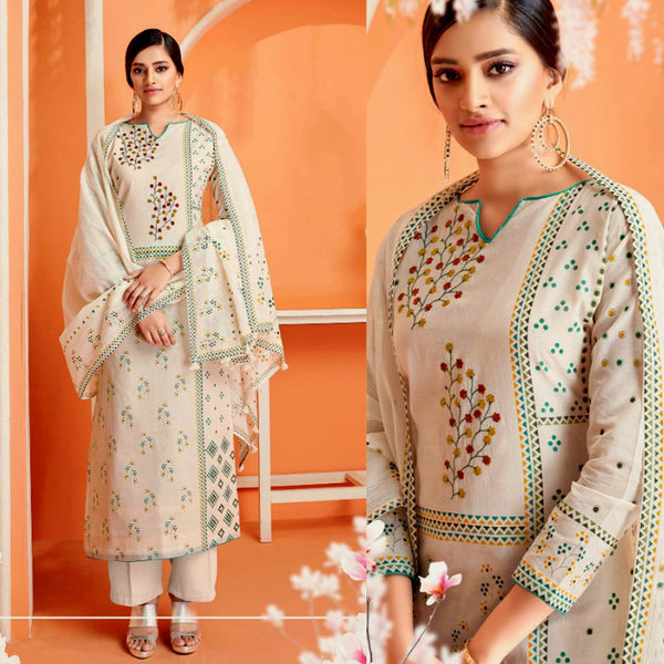 CREAM-GREEN DESIGNER PRINTED COTTON UP TO READY SIZE 64 UNSTITCHED SALWAR KAMEEZ SUIT DRESS MATERIAL w EMBR LADIES DEN - Ladies Den