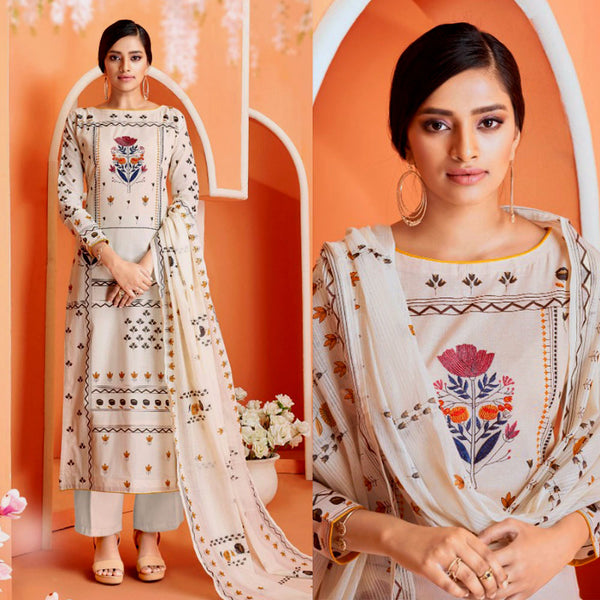 EGG WHITE-GRAY DESIGNER PRINTED COTTON UP TO READY SIZE 64 UNSTITCHED SALWAR KAMEEZ SUIT DRESS MATERIAL w EMBR LADIES DEN - Ladies Den