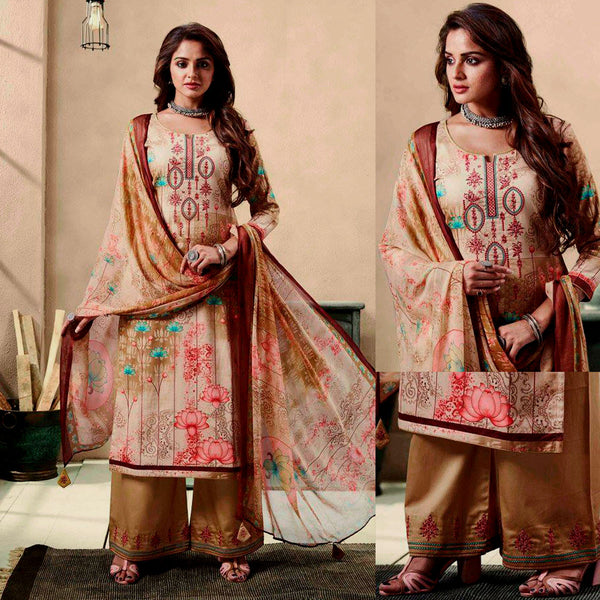 FAUN-DARK KHAKI PRINTED SATIN COTTON UNSTITCHED SALWAR KAMEEZ SUIT DRESS MATERIAL w EMBR LADIES DEN - Ladies Den