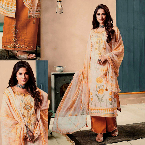 ROSE BROWN-YELLOW PRINTED SATIN COTTON UNSTITCHED SALWAR KAMEEZ SUIT DRESS MATERIAL w EMBR LADIES DEN - Ladies Den