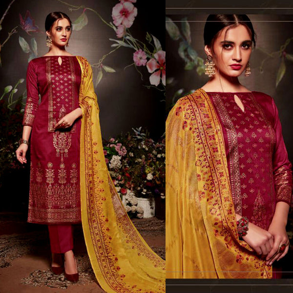MAROON GOLDEN BLOCK PRINTED SATIN COTTON UNSTITCHED SALWAR KAMEEZ SUIT DRESS MATERIAL LADIES DEN - Ladies Den