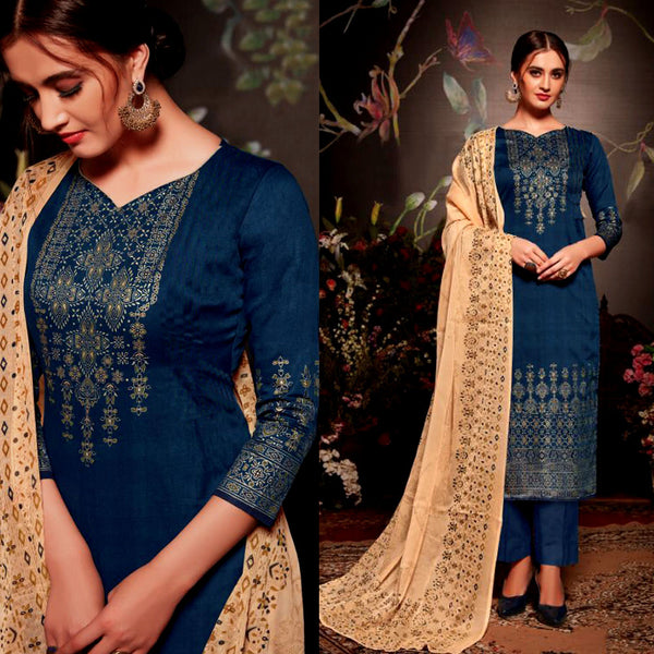 DARK NAVY BLUE GOLDEN BLOCK PRINTED SATIN COTTON UNSTITCHED SALWAR KAMEEZ SUIT DRESS MATERIAL LADIES DEN - Ladies Den